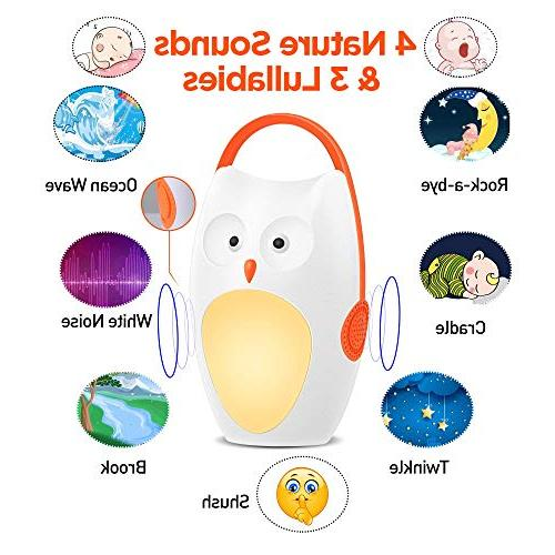 SOAIY Portable Sleep Soother Noise with Light,7 Soothing Sounds Volume Control,Auto-Timer Carrige