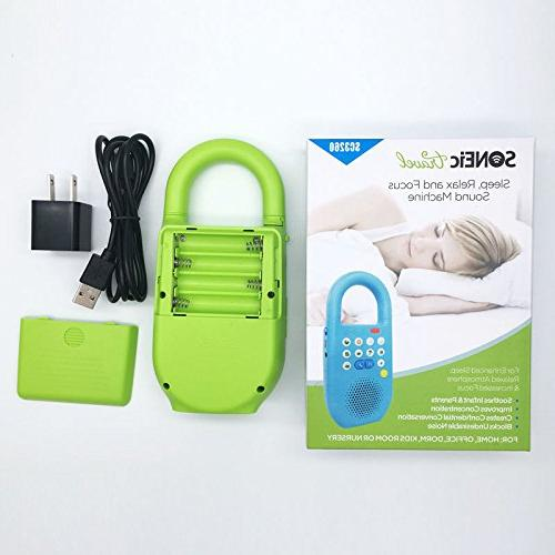 SONEic Travel Sleep, Relax Focus Sound Machine. 10 Noise Natural Tracks and Baby Lullaby with Timer Option - Green