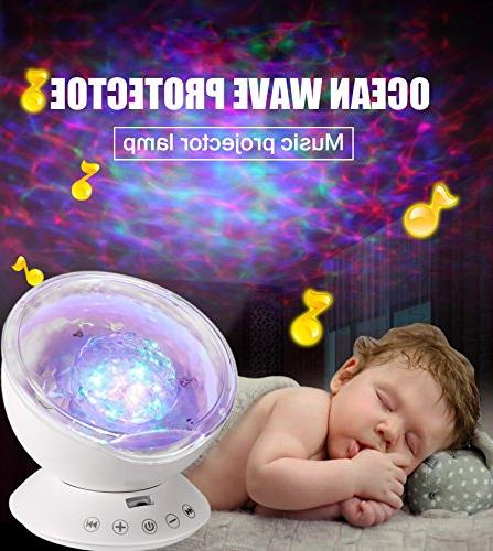 Ocean Wave Projector, Night Light Sound Machine with Music Decor Baby Kids, Nursery Living Room and