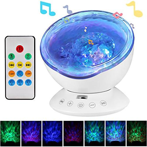 Ocean Projector, Light Sound Machine Music Player, Timer, Decor for Infant Kids, and Bedroom