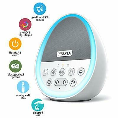 portable rechargeable white noise machine with 8