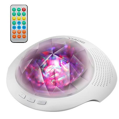 SOAIY Sound Machine & Night Projector with Control, Timer, Soothing Aurora Projection Lamp with Noise for Adults, 7 Modes, White