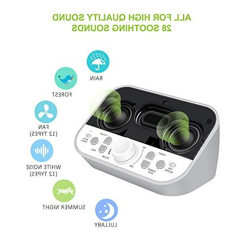 White Machine for Sleeping with Sounds Headphone Jack High Quality Speaker Sleep Timer Sound Therapy Baby Adults Gray