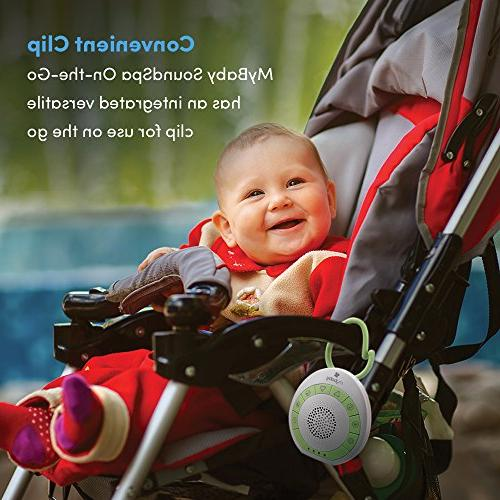 MyBaby, On-the-Go, Soothing Sounds with Adjustable Volume Versatile Clip to to Diaper Bags Car Seats, & Lightweight