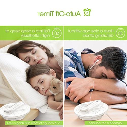 PICTEK White Sleep Lullaby Sound Sleeping with Auto-Off Timer, Headphone Jack, or Powered