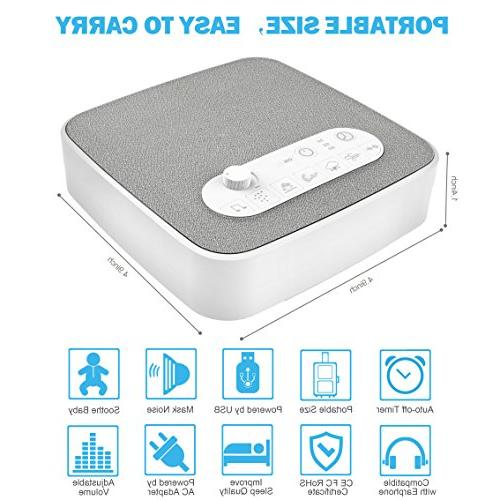 White Noise for Sleeping, Aurola Sleep Machine Sounds for Baby Traveler, Portable Office Travel. Built in USB Output Charger Timer