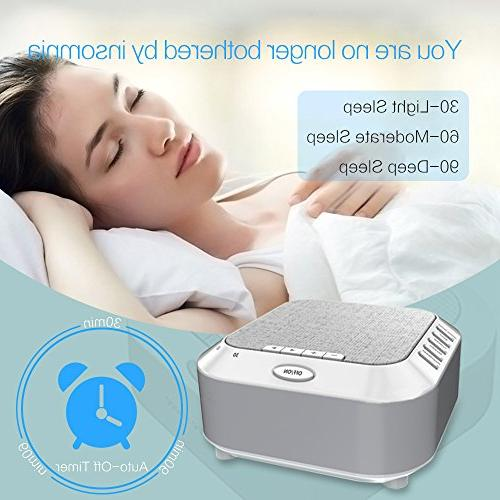 White Sleeping, Night Light Machine Travel Timer Baby Adults Home Office Privacy