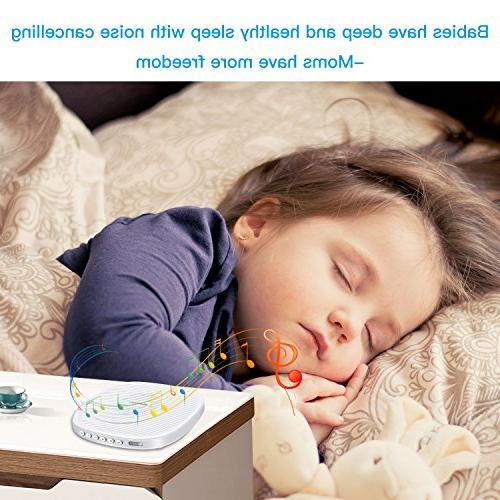 White Noise Sleep Sound Therapy with Soothing Sound and Sleep for Baby, Kids, with Wind, Ocean Sound Effects