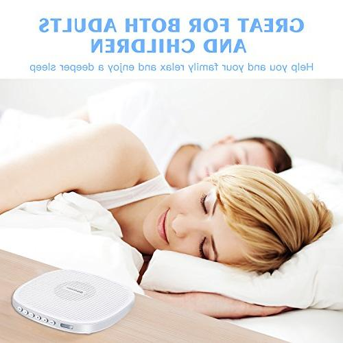 White Sleep with Sound and Sleep Timer for Baby, with Natural Sound Effects