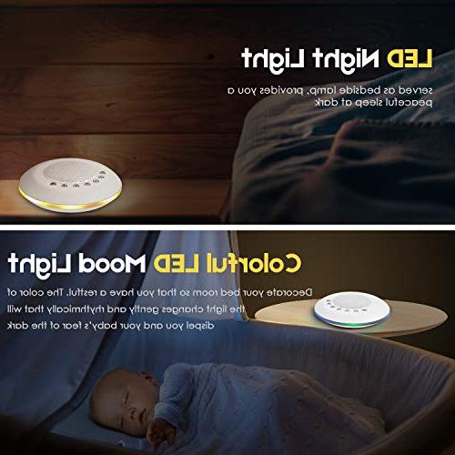 White Machine for Sleeping, 20 Soothing Sounds Lullaby Night Light Baby Therapy Machine, Timer Battery Output