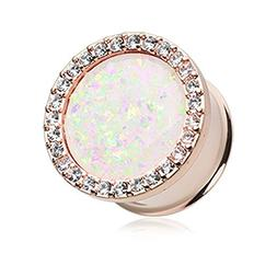 Inspiration Dezigns Pair Of 8mm Rose Gold Synthetic Opal Ele