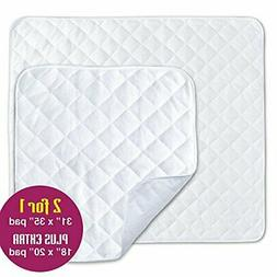 2 Pack Waterproof Incontinence Bed Pads - Mattress and Chair